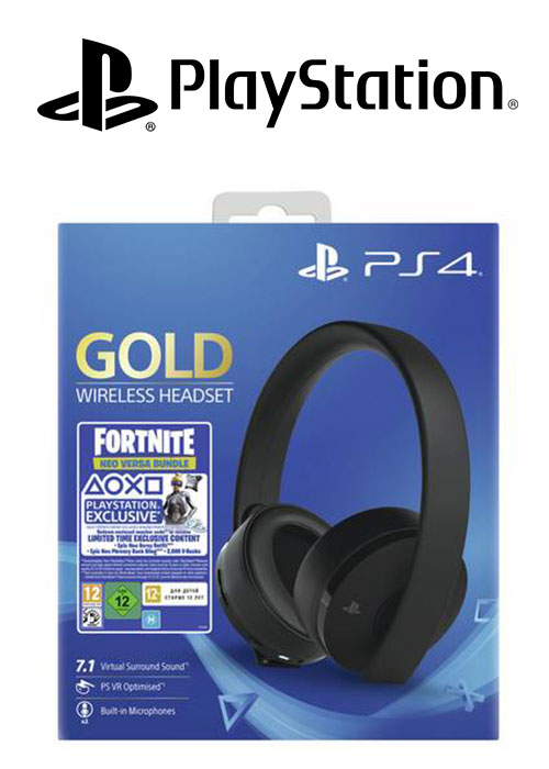PS4 Headset Gold Wireless Stereo 2.0 Black V2 + Fortnite Neo Versa BUNDLE