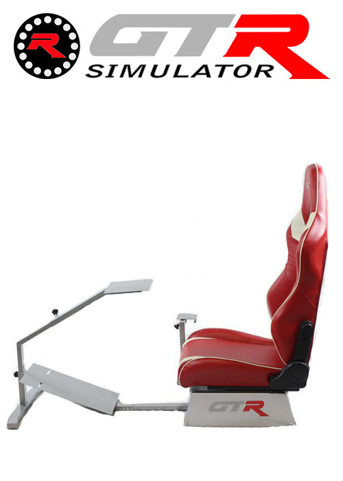 GTR Simulator Touring Model Simulator with Silver Frame and Adjustable Leatherette Racing Seat - Red/White