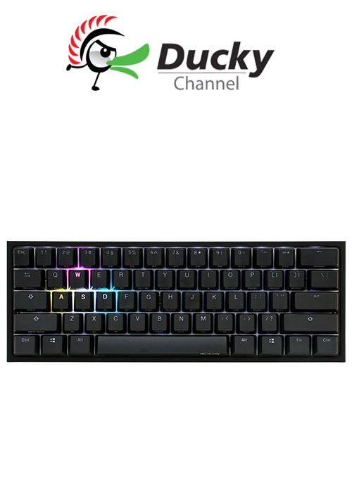 Ducky One 2 Mini (V2) RGB DS PBT Red Cherry MX Mechanical Keyboard - Black/White