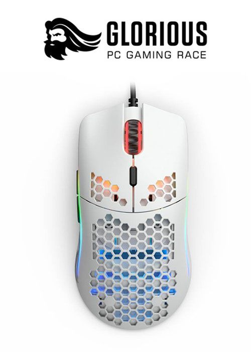 Glorious Model O RGB Gaming Mouse - Matte White + Free Bungee