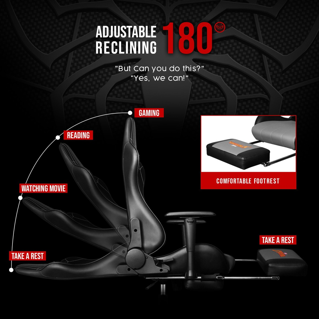 ARCR - Marvel Avengers Gaming Chair With Racing Chairs Footrest - Spider-Man