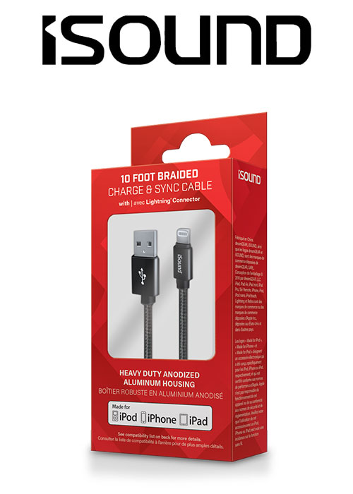 ISOUND 10FT BRAIDED LIGHTNING CABLE - BLACK