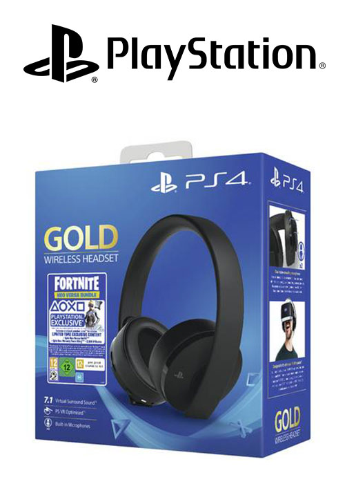 SONY PS4 Headset Gold Wireless Stereo 2.0 Black V2 + Fortnite Neo Versa BUNDLE