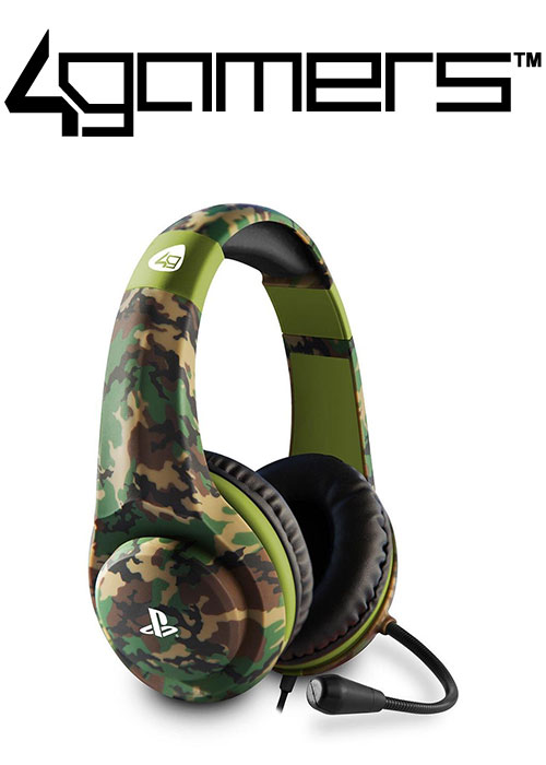 4Gamers PS4 PRO4-70 Wired Stereo Gaming Headset - Camo Green