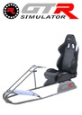 GTR Simulator GTS Model Simulator with Diamond Silver Frame Adjustable Leatherette Real Racing Seat - Black