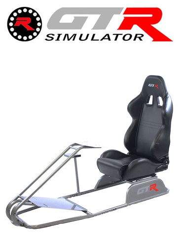 [675857] GTR Simulator GTS Model Simulator with Diamond Silver Frame Adjustable Leatherette Real Racing Seat - Black