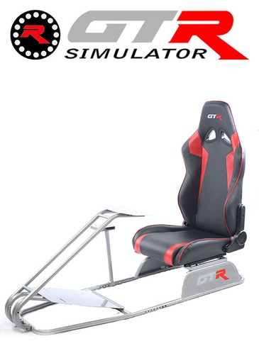 [675858] GTR Simulator GTS Model Simulator with Diamond Silver Frame Adjustable Leatherette Real Racing Seat - Black/Red