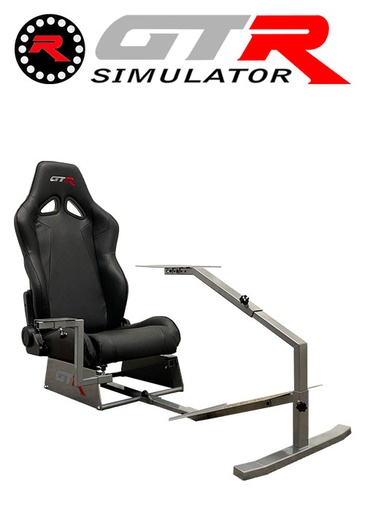 [675859] GTR Simulator Touring Model Simulator with Silver Frame and Adjustable Leatherette Racing Seat - Black