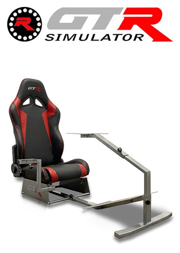 [675860] GTR Simulator Touring Model Simulator with Silver Frame and Adjustable Leatherette Racing Seat - Black/Red