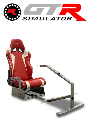 [675861] GTR Simulator Touring Model Simulator with Silver Frame and Adjustable Leatherette Racing Seat - Red/White