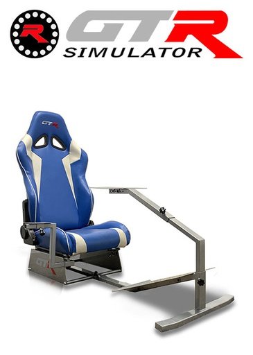 [675862] GTR Simulator Touring Model Simulator with Silver Frame and Adjustable Leatherette Racing Seat - Blue/White