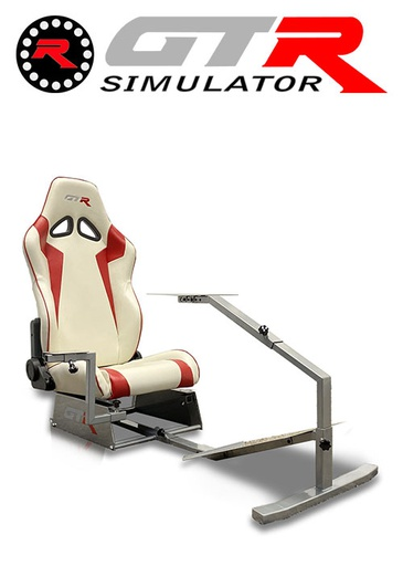 [675863] GTR Simulator Touring Model Simulator with Silver Frame and Adjustable Leatherette Racing Seat - White/Red