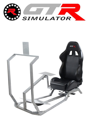 [675864] GTR Simulator GT Model with Mounts for Controls, Pedals and Display Adjustable Leatherette Seat - Black