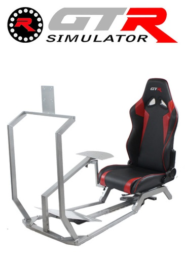 [675865] GTR Simulator GT Model with Mounts for Controls, Pedals and Display Adjustable Leatherette Seat - Black/Red