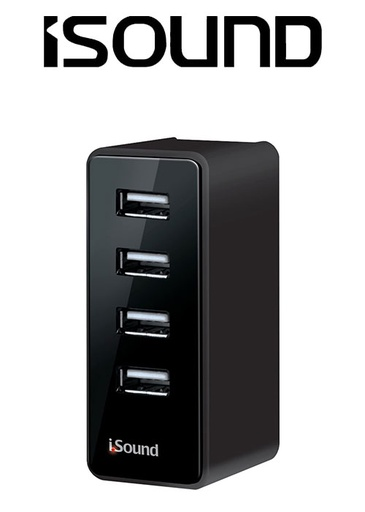[676636] ISOUND 4 USB WALL CHARGER PRO - BLACK