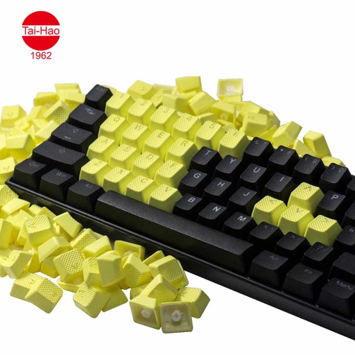 [676687] Tai-Hao 22-Keys TPR Backlit Double Shot Rubber-Keycap Set - Neon Zinc Yellow