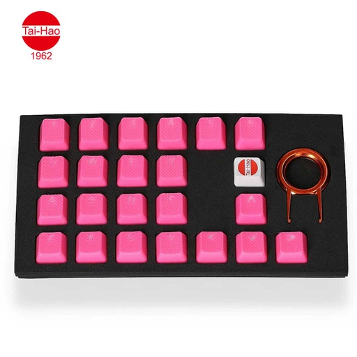 [676688] Tai-Hao 22-Keys TPR Backlit Double Shot Rubber-Keycap Set - Neon Jelly Pink