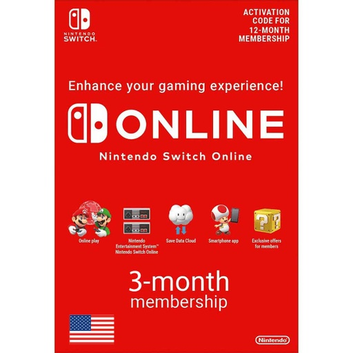 [677238] Nintendo Online: 3 Month - USA Account [Digital Code]