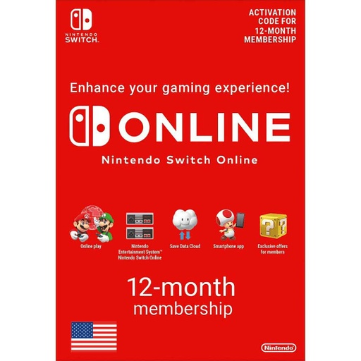 [677239] Nintendo Online: 12 Month - USA Account [Digital Code]