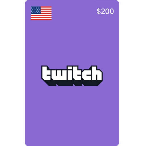 [677325] Twitch Gift Cards: 200$ US Account [Digital Code]